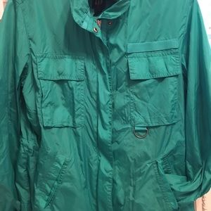 Gap green windbreaker with zippered hoodie size S